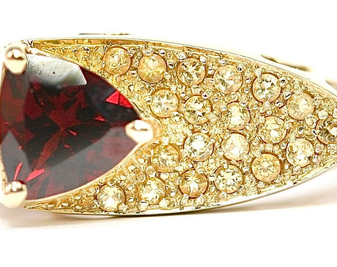 Fabulous heavy vintage 9ct gold Garnet and Yellow Sapphire Modernist / statement ring - size N or US 6.5 - 6.6gms