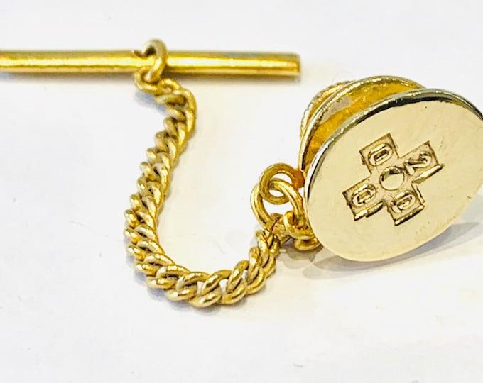 Vintage 9ct yellow gold Millennium tie-pin - fully hallmarked Birmingham 2000