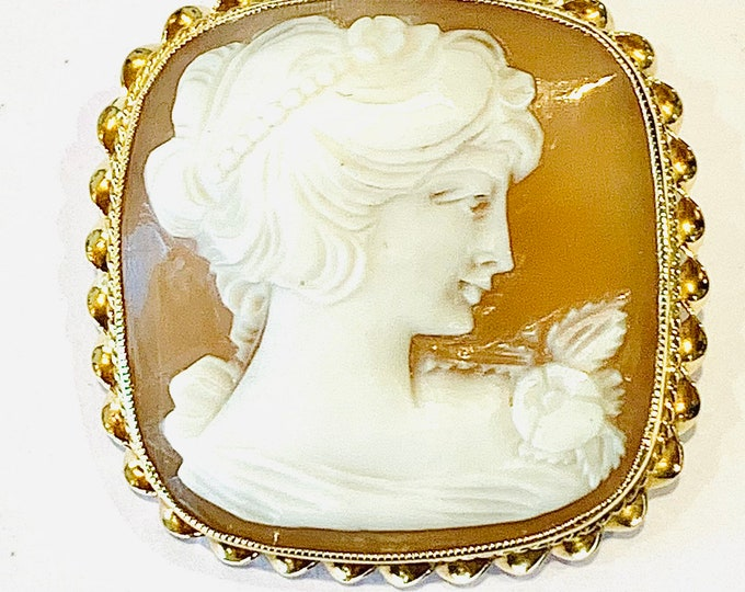 Stunning heavy vintage 9ct gold carved shell Cameo brooch / pendant - hallmarked Birmingham 1994 - 8.4gms