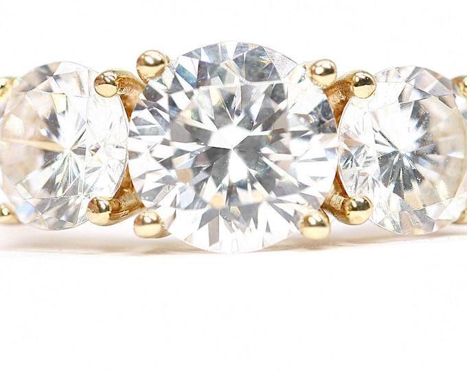 Superb sparkling vintage 14K gold 4 carat Cubic Zirconia dress ring - fully hallmarked - size L or US 5.5