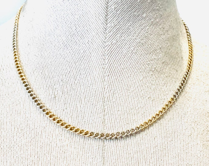 Superb rare antique Victorian 9ct yellow and white gold 17 inch chain with dog clip fastener - fully hallmarked