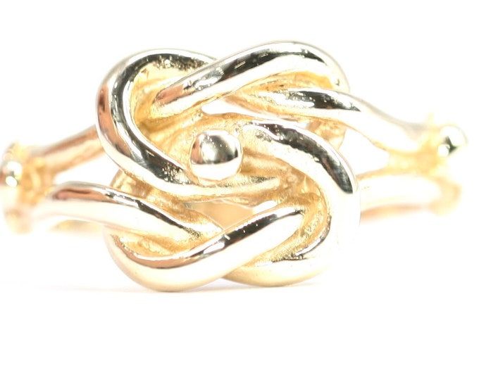 Superb vintage 9ct yellow gold Knot ring - fully hallmarked - size L or US 5.5
