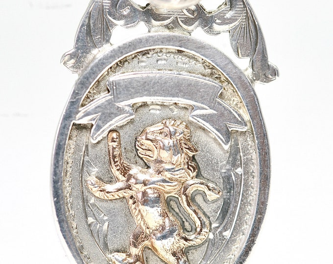 Superb 94 year old sterling silver Scottish Lion Rampant pocket watch fob / pendant - Chester 1927