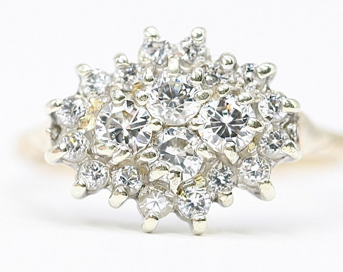 Superb sparkling vintage 9ct yellow gold Cubic Zirconia cluster ring - hallmarked Birmingham 1981 - size R or US 8.5