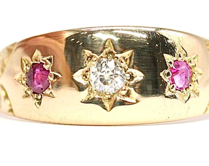 Superb antique Edwardian 18ct gold Diamond & Ruby ring - hallmarked Birmingham 1902 - size J 1/2 or US 5