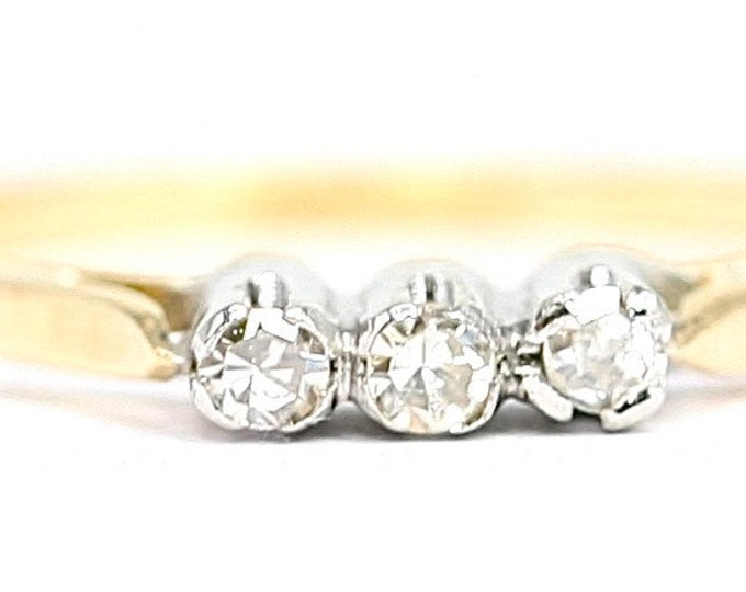 Stunning antique 18ct gold and platinum Diamond trilogy / stacking ring - stamped 18ct & PLAT - size N or US 6.5