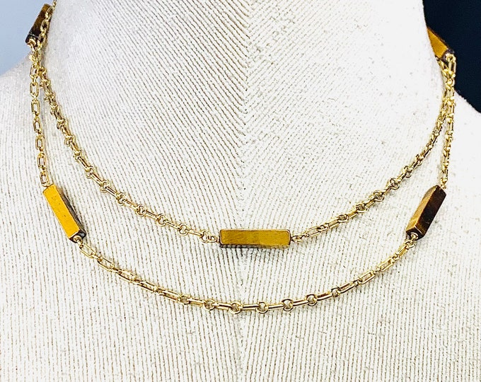 Superb vintage 9ct yellow gold 32 inch necklace with Tigers Eye highlights - hallmarked London 1977 - 14gms