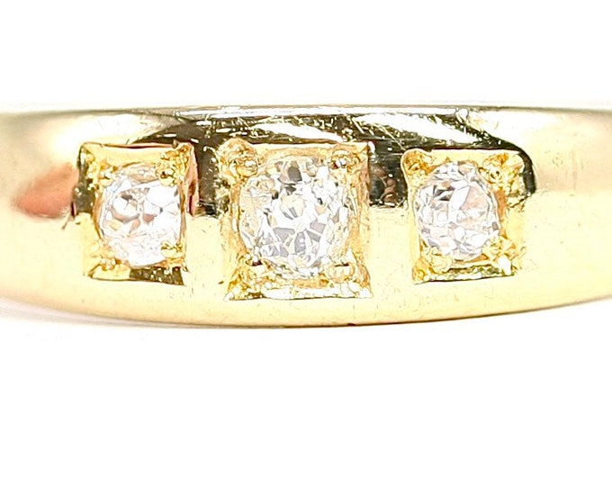 Superb antique Victorian 18ct yellow gold Diamond gypsy / engagement ring - size M or US 6
