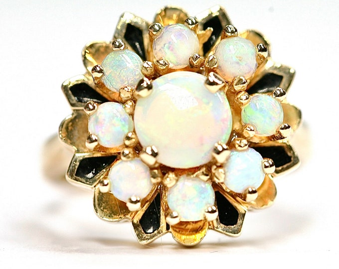Superb beautifully coloured heavy vintage 14k yellow gold Opal cluster ring with black enamel highlights - size N or US 6.5
