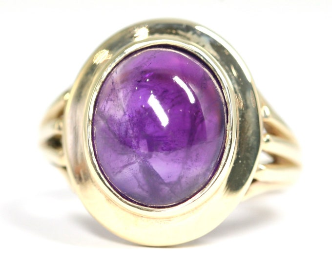 Fabulous heavy vintage 9ct gold Amethyst cabochon statement ring - fully hallmarked - size O 1/2 or US 7 1/4