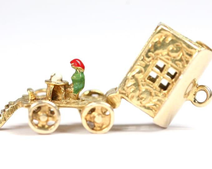 Stunning vintage 9ct yellow gold Romany caravan / fortune teller charm - hallmarked London 1971