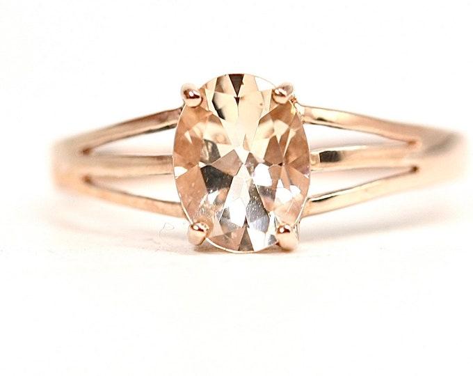 Stunning vintage 9ct rose gold Rose Quartz ring - fully hallmarked - size T or US 9 1/2