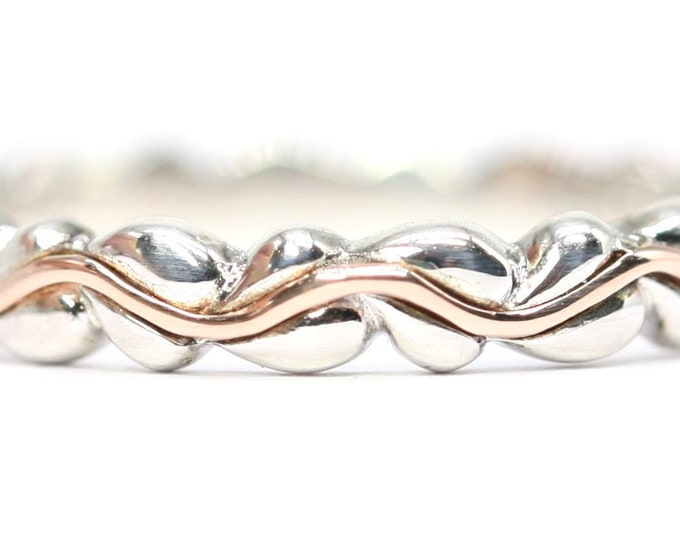 Clogau- Gold of Royalty - sterling silver & Welsh 9ct rose gold 'Life Affinity' ring - fully hallmarked - size P or US 7.5