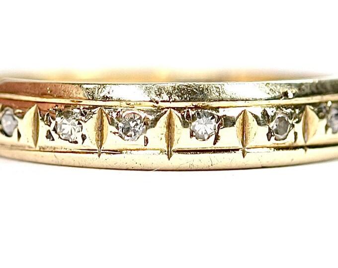 Vintage 9ct gold Diamond band - hallmarked London 1980 - size L or US 5.5