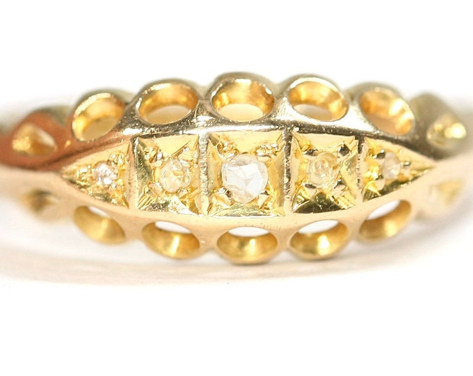 REDUCED ***Superb antique 18ct yellow gold Diamond boat ring / engagement ring - Birmingham 1913 - size L or US 5 1/2