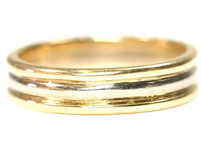 Stunning vintage 18ct white and yellow gold band / wedding ring - hallmarked Sheffield 2000 - size M or US 6