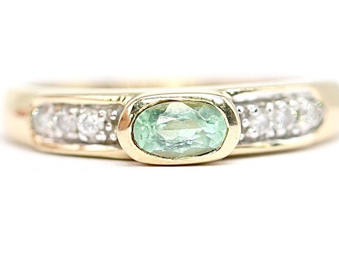 Superb vintage 9ct yellow gold Tourmaline and Diamond ring - fully hallmarked - size L or US 5,5