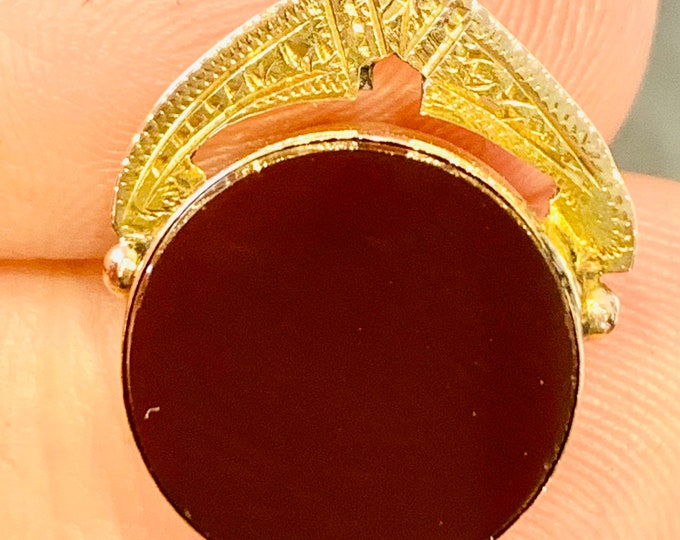Antique Edwardian 9ct gold Bloodstone and Carnelian fob - condition poor - fully hallmarked