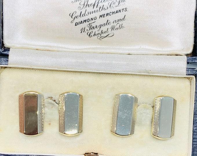 Superb antique Art Deco 9ct yellow gold Cufflinks - hallmarked Chester 1935