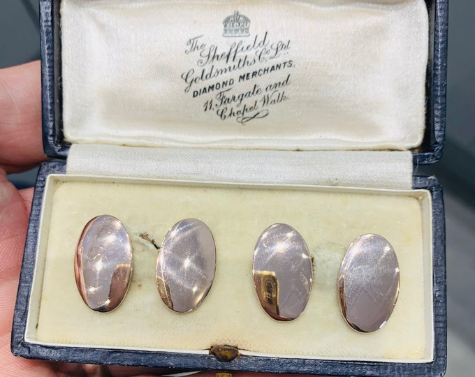 Stunning antique 9ct rose gold Cufflinks - hallmarked Chester 1943 - Henry Griffiths & Sons