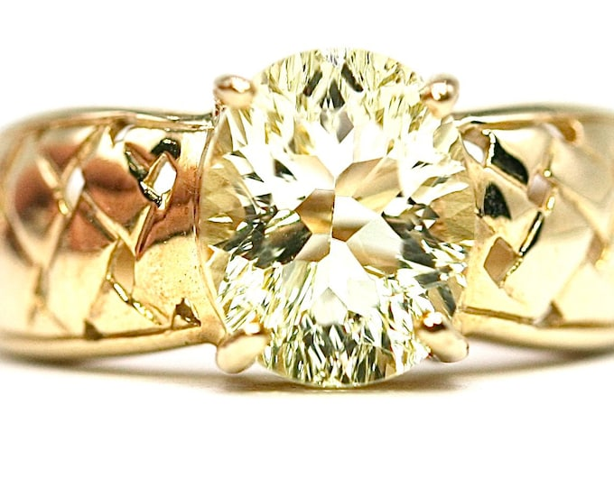 Superb vintage 9ct yellow gold Lime Citrine ring - fully hallmarked - size N or US 6.5