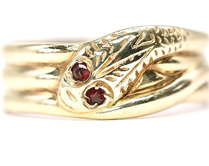 Superb vintage 9ct yellow gold triple coil Snake ring with Garnet eyes - hallmarked Birmingham 1964 - size X or US 11.5 - 6.3gms