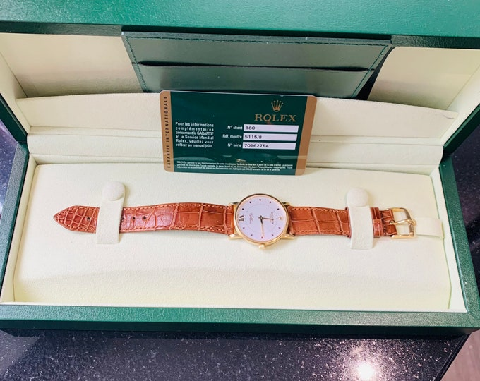 Superb 18K gold Rolex Cellini 5115/8 wristwatch with original card and presentation box - perfect condition
