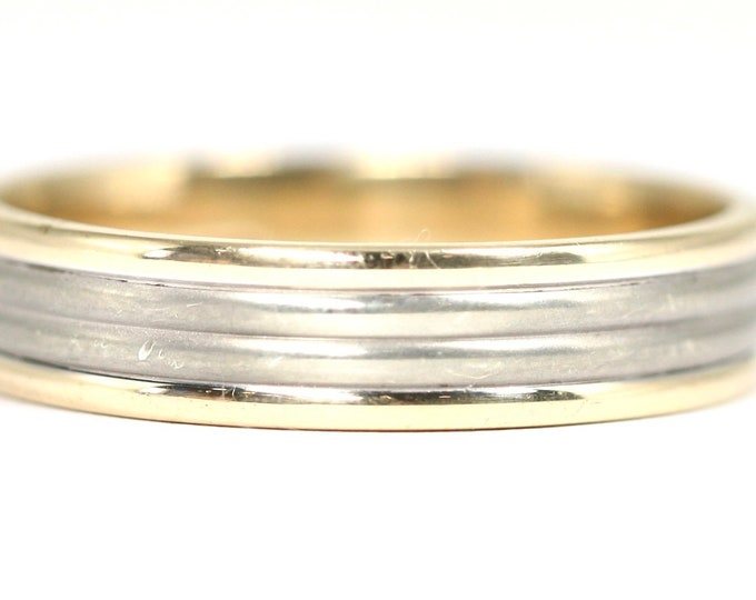Superb heavy large sized Men's vintage 9ct yellow and white gold wedding ring - fully hallmarked - size Z + 4 or US 14.5