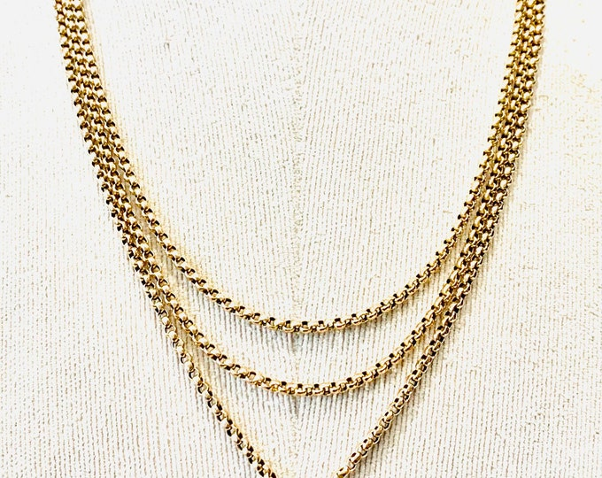 Stunning Victorian 9ct gold faceted link 64 inch Muff or Longuard chain - stamped 9C - 23gms