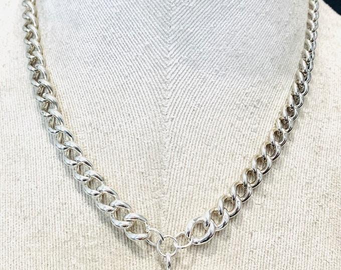 Superb antique Edwardian sterling silver 16 1/2 inch Albert chain necklace with t-bar - hallmarked Birmingham 1908