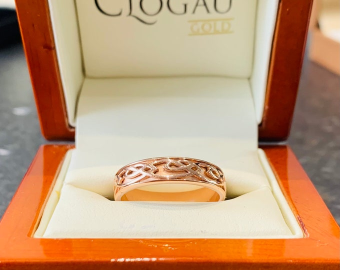 Clogau - Gold of Royalty - rare Welsh gold - 9ct rose gold 'Annwyl' ring - wedding ring - fully hallmarked - size T or US 9.5
