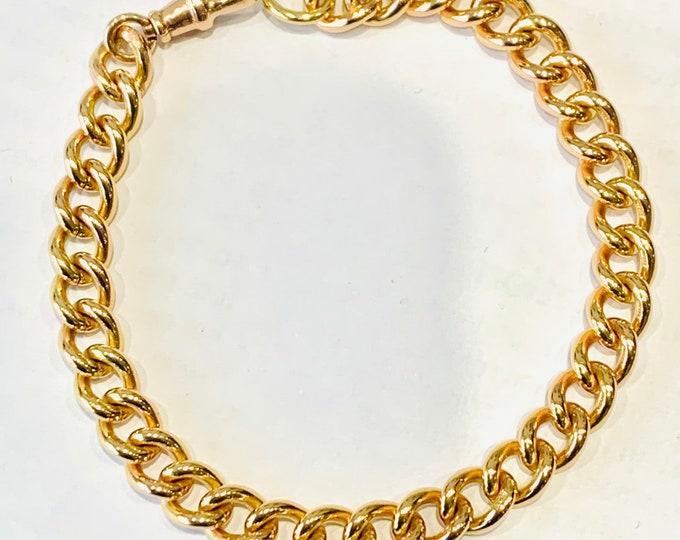 Superb antique 9ct rose gold 8 inch Albert bracelet with dog clip fastener - every link hallmarked - 24gms