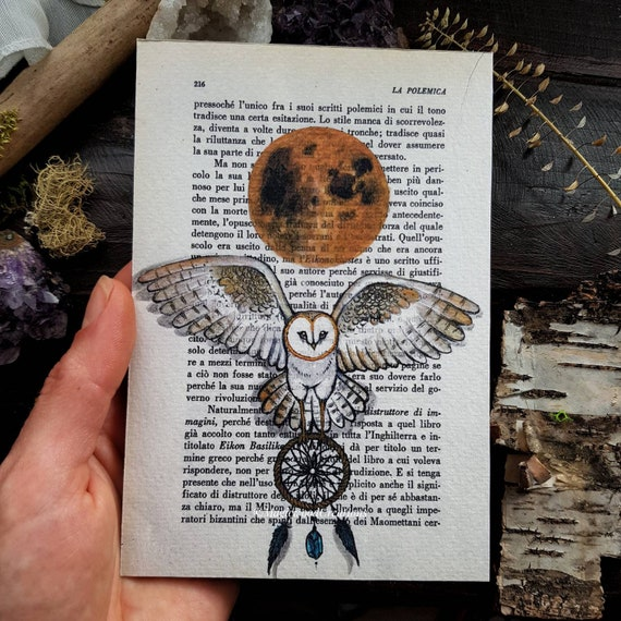 Original barn owl print with full moon, painted on book page, gift idea