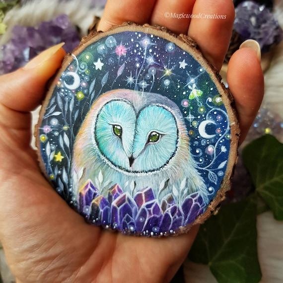 Stellar beards, owl art, animal spirit, magical art, painted on wood, full moon, recycled wood, gift idea