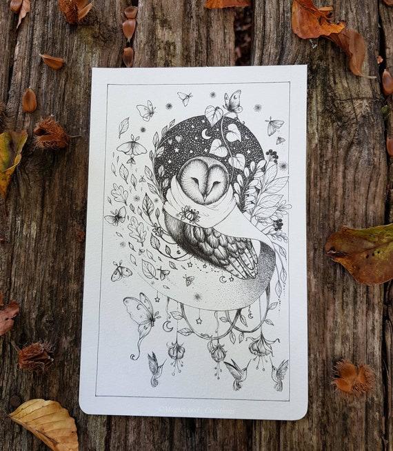 Original illustration, autumn owl, original illustration on moleskine page, ink drawing