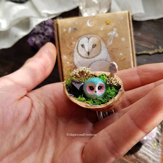 Magical shell, walnut shell, owl sculpture, gift idea