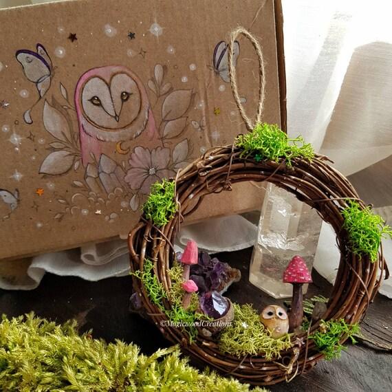 Fairy garland with owl, magic owl, handmade, gift idea, mushrooms, amethyst crystal