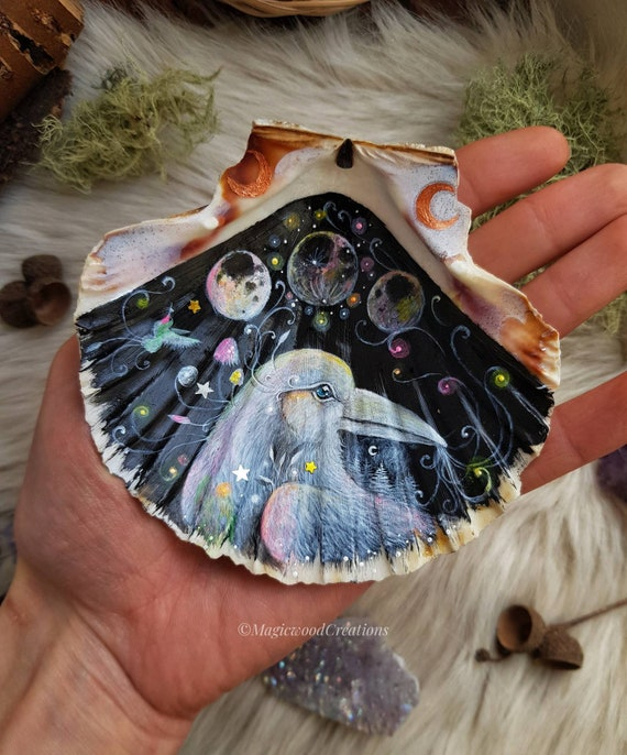 Magical raven, lunar phases, hummingbird art, painted on shell, hand-painted, gift idea