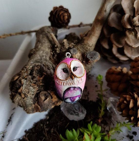 Owl pendant with night landscape, aurora borealis painting, animal spirit, polymer pendant, handmade, gift idea
