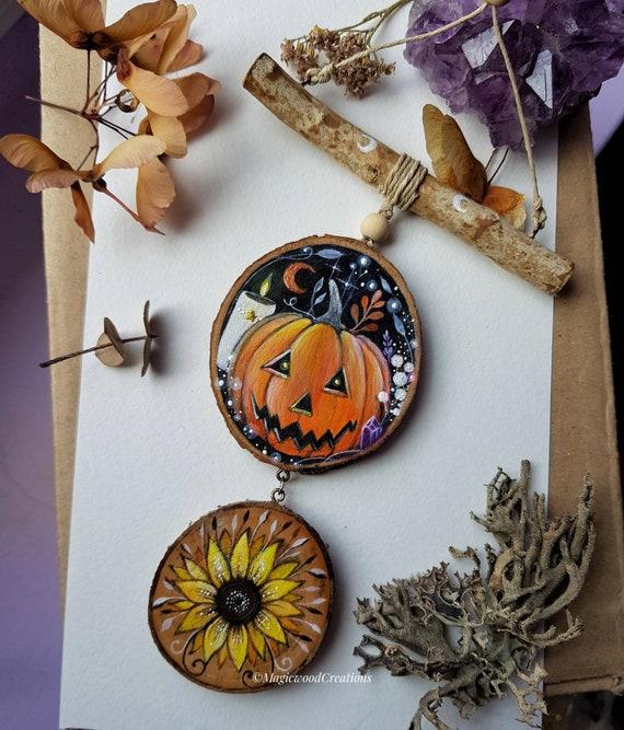 Halloween decoration, Jack O'lantern,painted on wood, recycled wood, gift idea