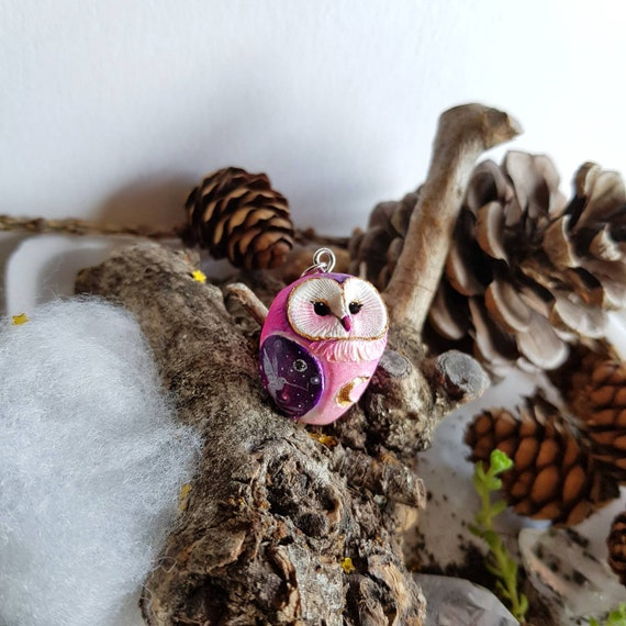 Pink owl pendant, animal spirit, polymer pendant, handmade, gift idea