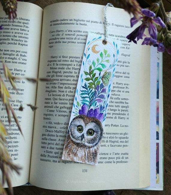 Original bookmark, northern owl, original watercolor painting,gift idea