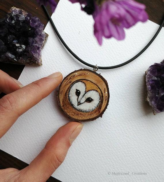 Owl pendant, pyrography barn owl, wood painting, animal spirit, gift idea