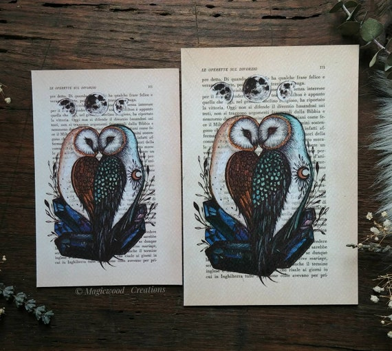 Original print in Love Owls, painted on book page, Valentine's Day gift idea, gift for her