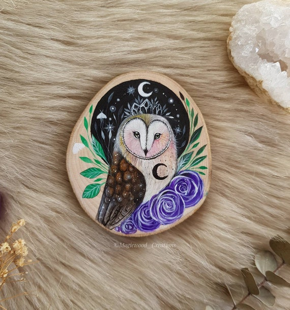 Original painting, slice of painted wood, barn owl with purple roses, animal spirit, painting on wood, gift idea