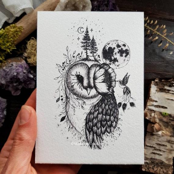 Barn owl print with full moon, magical hummingbird, pen illustration