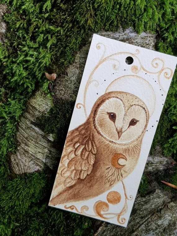 Original Bookmark barn owl, original painting, coffee painting, gift idea