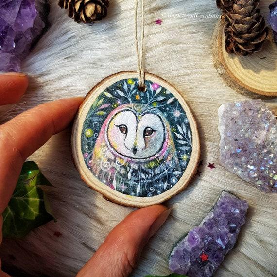 Rainbow owl, owl art, animal spirit, magical art, painted on wood, full moon, recycled wood, gift idea