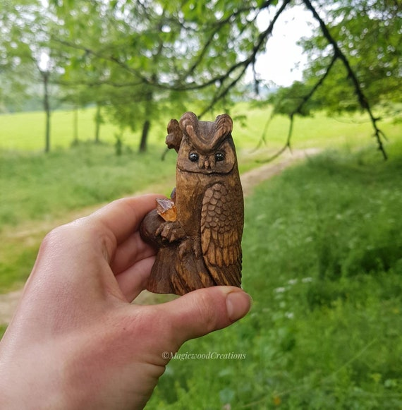 Royal owl sculpture, wooden owl, animal spirit, hand-carved, painted sculpture