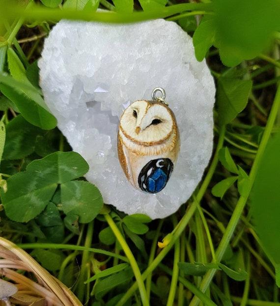 Owl pendant, animal spirit, polymer pendant, handmade, gift idea